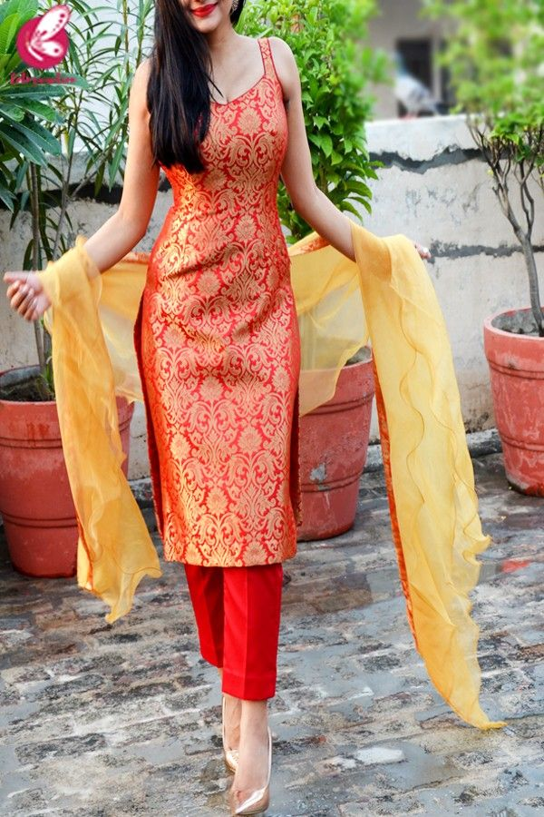 Red Golden Brocade Padded Kurti with Red Cotton Silk Pants and Golden Organza Ruffle