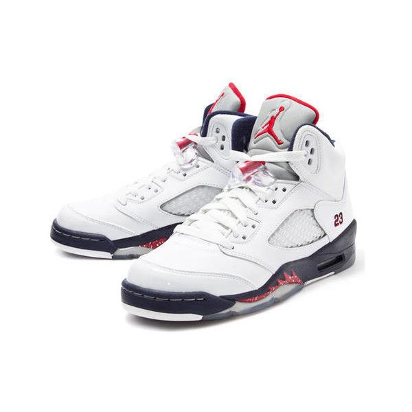lowest price 2e228 a2f05 Nike Air Jordan 5 V Retro GS White Navy Red Independence Day Girl Boy... ❤  liked on Polyvore featuring shoes, nike, leigh and jordan