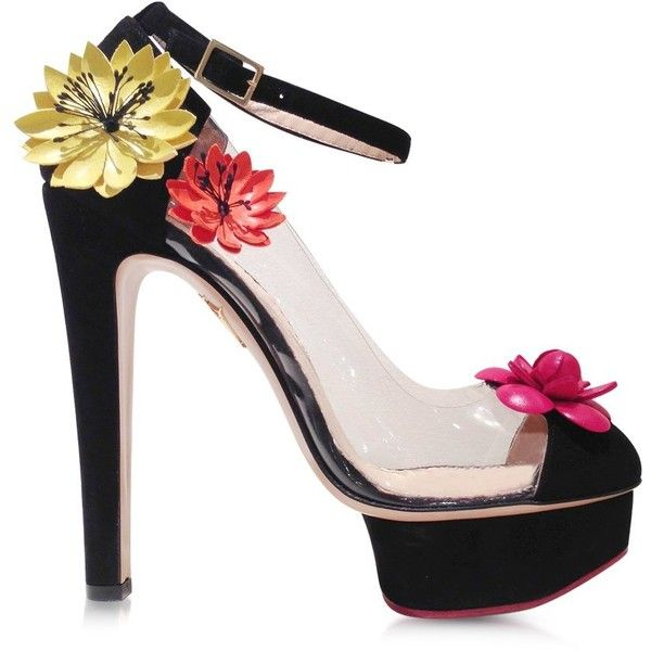 Charlotte Olympia Shoes Flora Black Suede and Transparent PVC Platform... ($555) ❤ liked on Polyvore