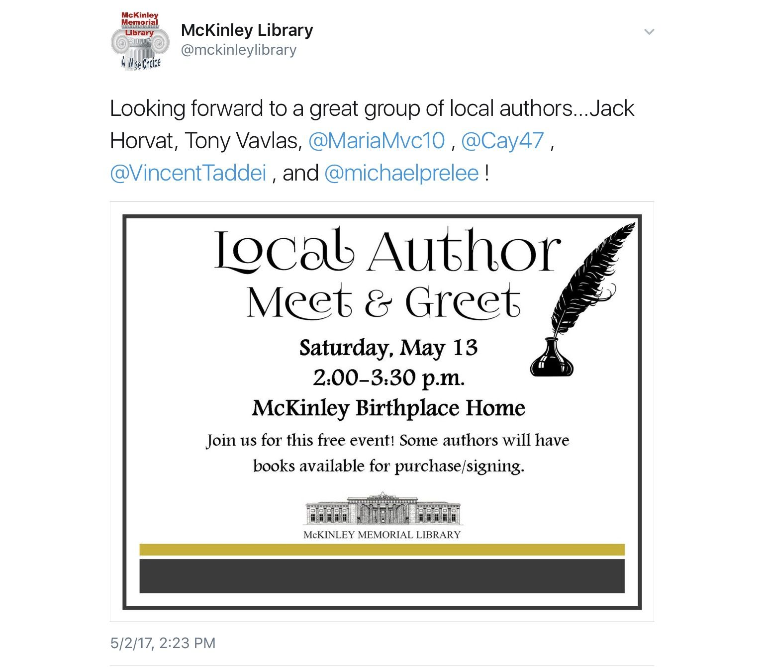 Local author meet and greet at the mckinley house niles ohio local author meet and greet at the mckinley house niles ohio m4hsunfo
