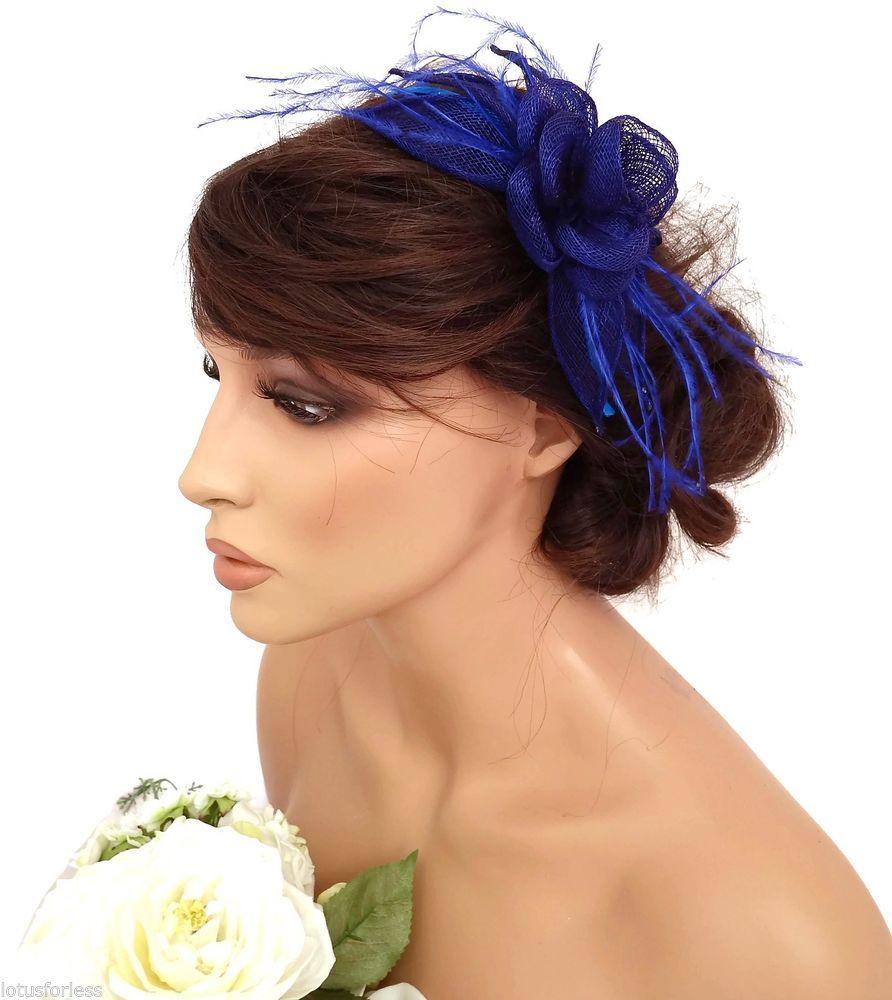 Elegant Royal Blue Mesh Flower Headband Fascinator Feathers Races Wedding