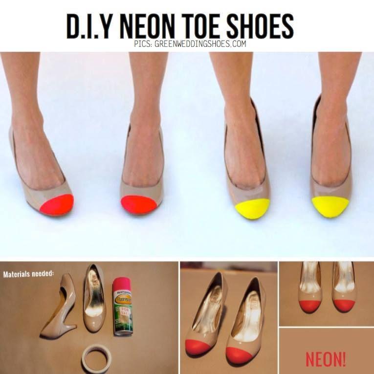 Neon toe shoes ¡súper fáciles y baratos!