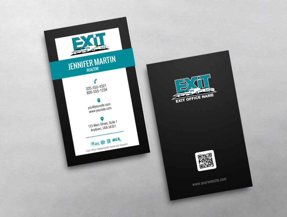 Exit Realty Business Card Style Exr243 Vertical Business Cards Vertical Business Card Design Exit Realty