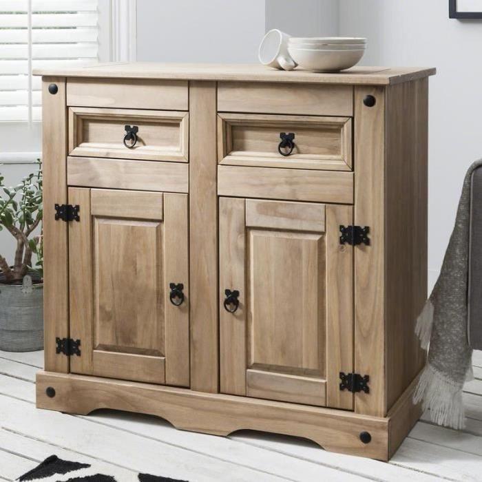 House of Cotswolds Corona Armoire de rangement - Buffet 2 tiroirs, 2 - meuble de rangement avec tiroir
