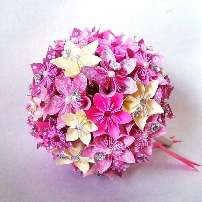Origami Bouquet Paper Flower Bouquet Bridal Wedding Alternative