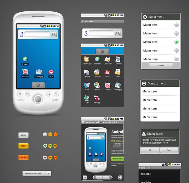 Android gui stencils kits and templates icon font android and app android gui psd vector kit maxwellsz