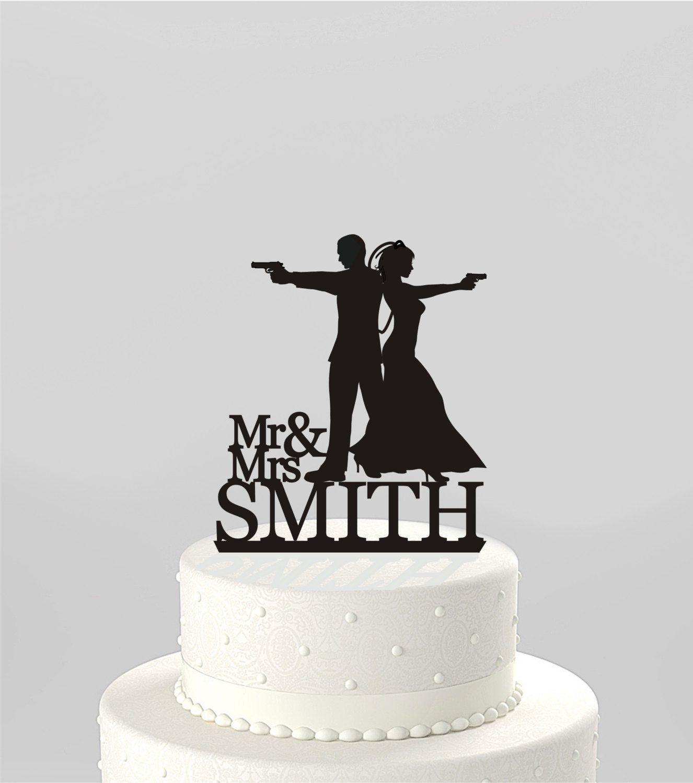 Wedding cake topper silhouette couple mr u mrs usmithu type