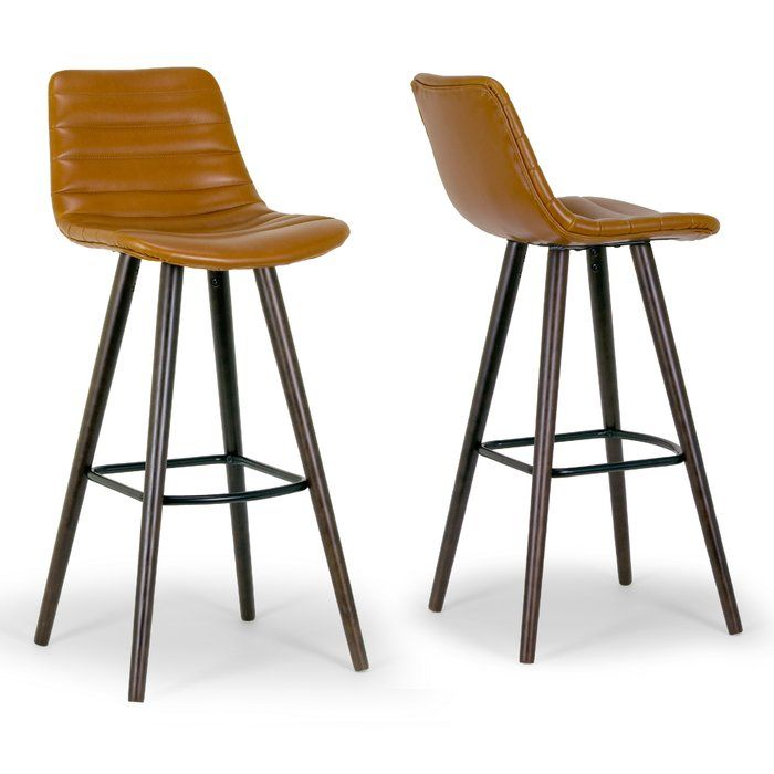 Modern Bar Stool Upholstered With Caramel Brown Colored Faux