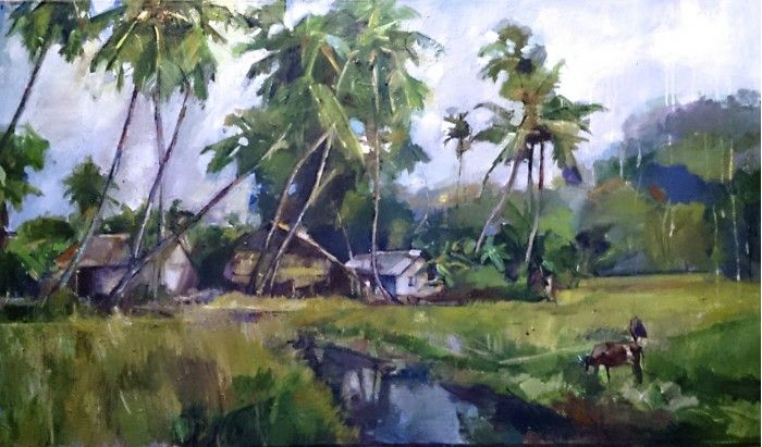 A Remote Village By Ranjith Perera South Asian Art Painting Art