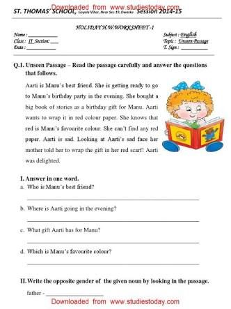 unseen passage class 2 subject English - Google Search | cbse ...