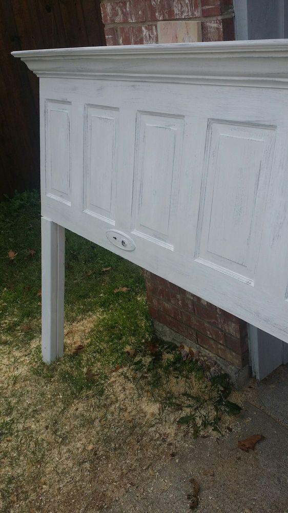 5 Panel Vintage Door Headboard   Antique White + Faux Distressing