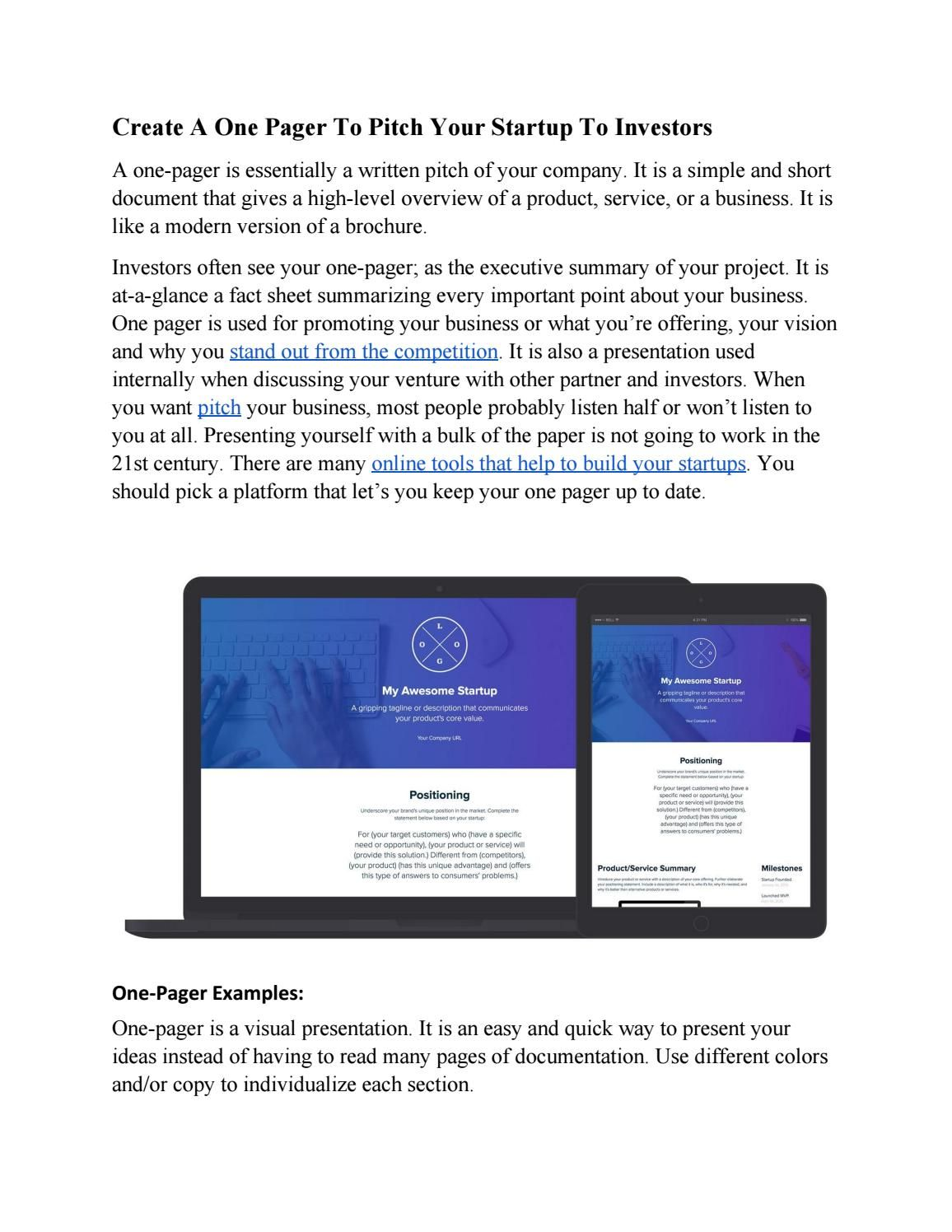 create a one pager for your startup to pitch to investor, Powerpoint templates