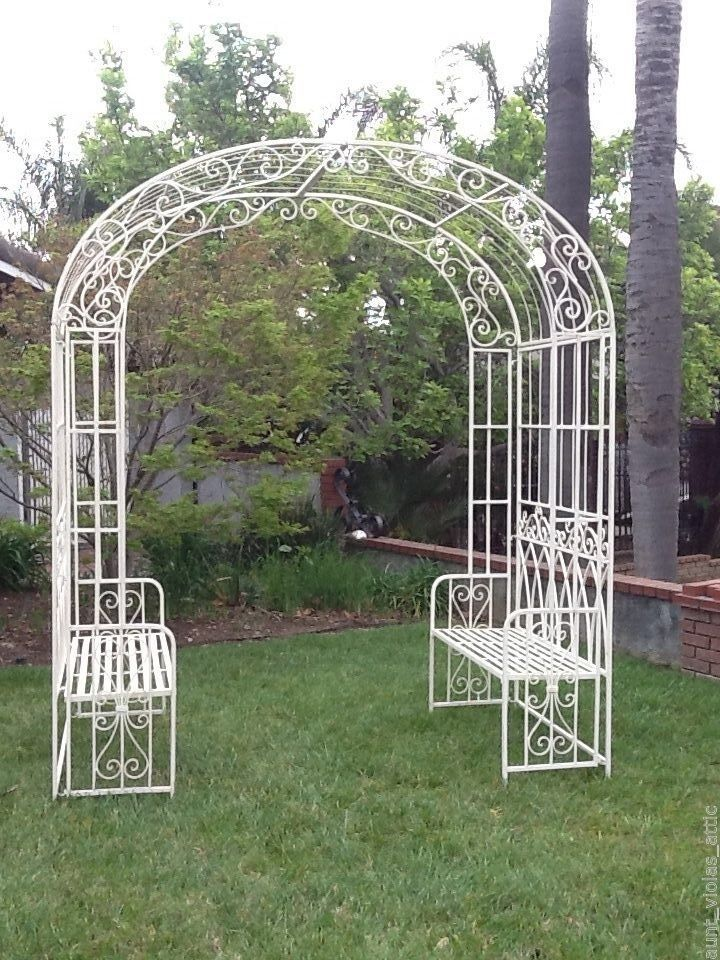 Wedding Arch Garden Arbor Bench Shabby Wrought Iron Cream Metal White Chic  Decor