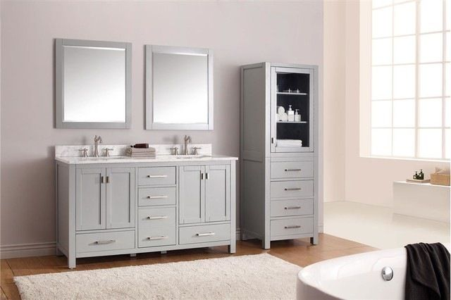 Highline Double Vanity, Chilled Gray transitional-bathroom-vanities