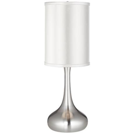 White Satin Cylinder Shade Steel Droplet Table Lamp With Images Table Lamp Lamp