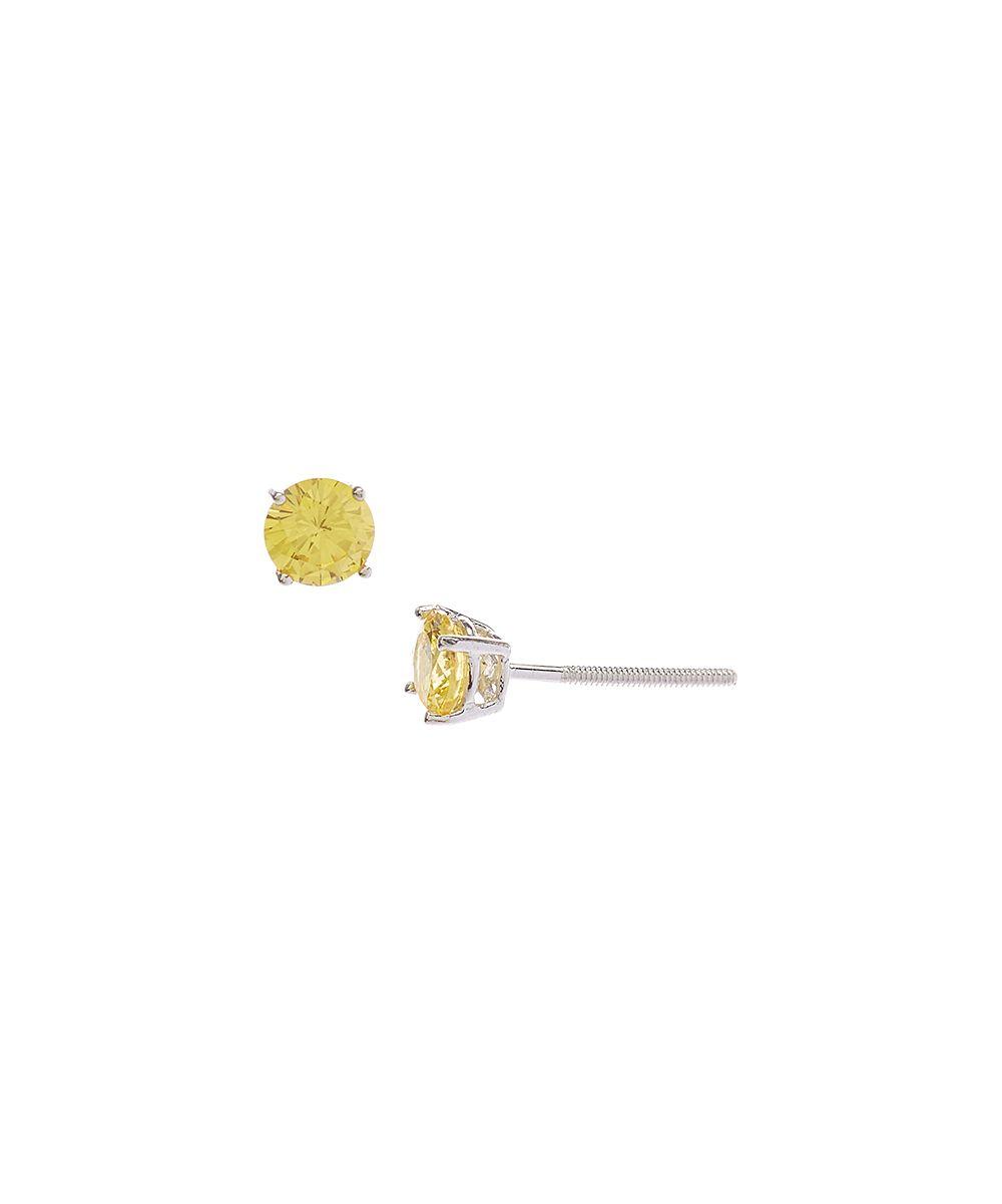 Yellow Crystal & Sterling Silver November Stud Earrings