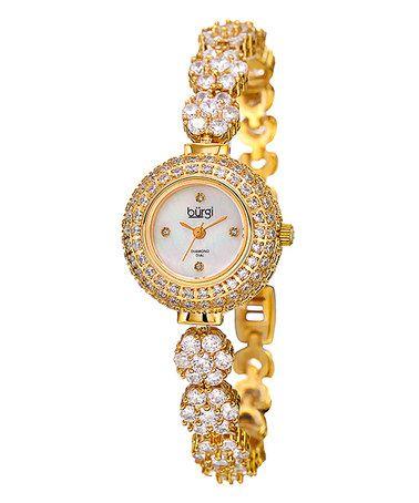 Another great find on #zulily! Burgi Women's Quartz Diamond Gold-Tone Bracelet Watch #zulilyfinds