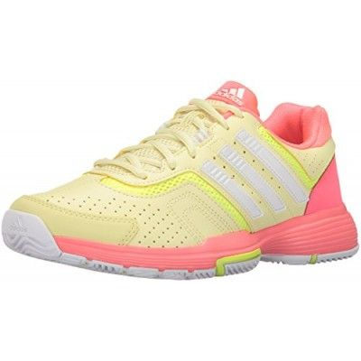 super popular 586cf 248f2 adidas Performance Women s Barricade Court 2 W Tennis Shoe, Ice Yellow White Flash  Red, 5 M US
