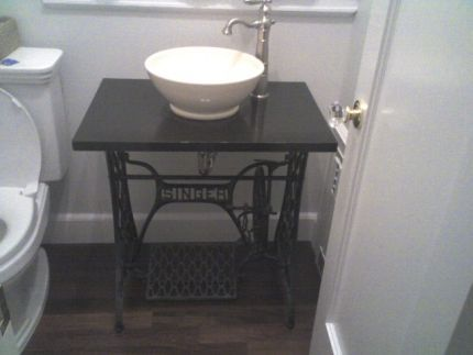 Sewing machine table converted into a bathroom sink. Sewing machine table converted into a bathroom sink    home