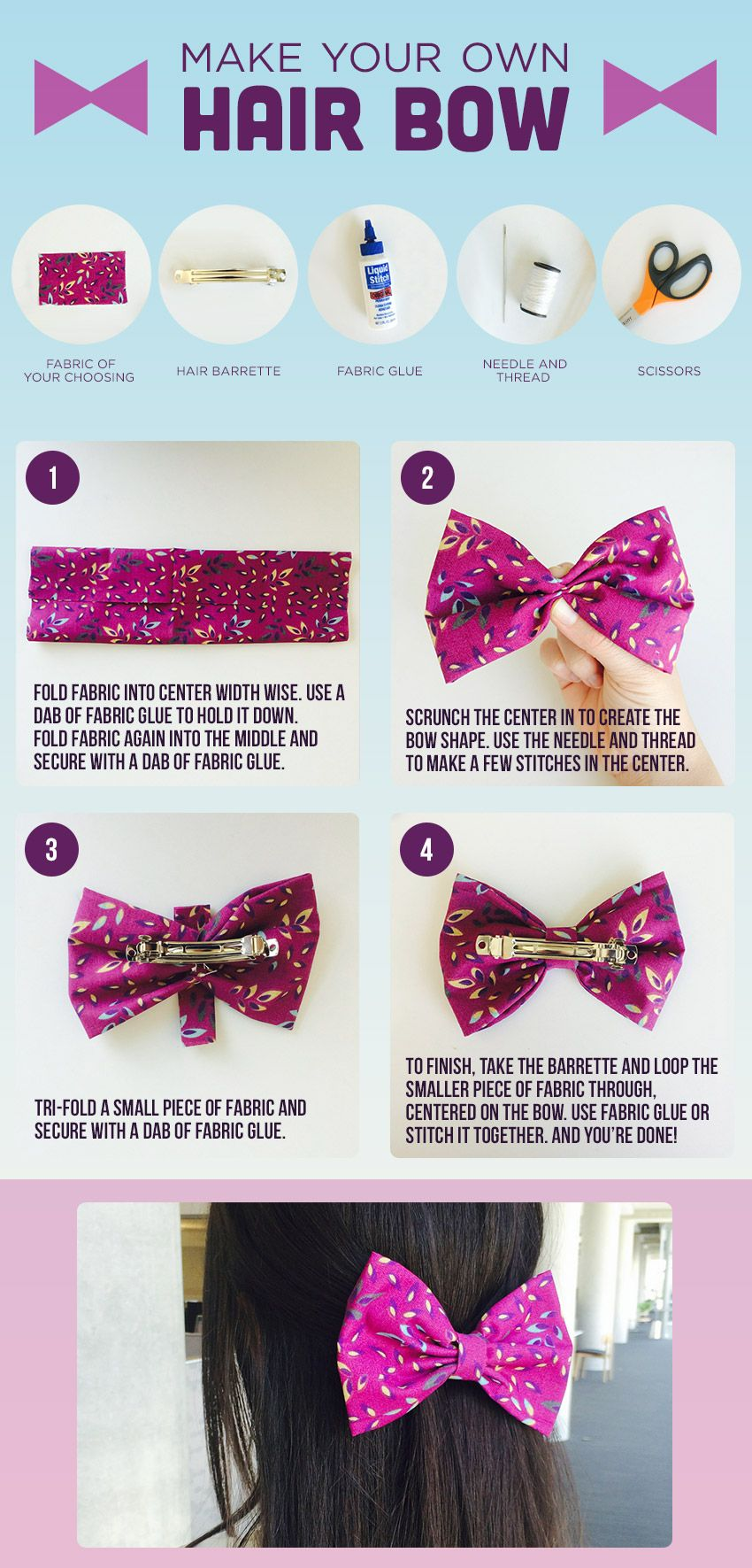 DIY: Make Your Own Hair Bow #fabricbowtutorial
