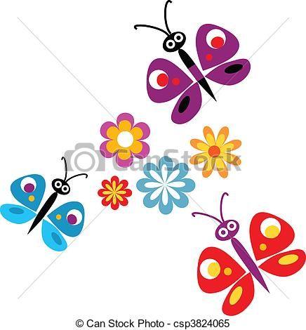 imagenes flores caricatura  Buscar con Google  mariposas