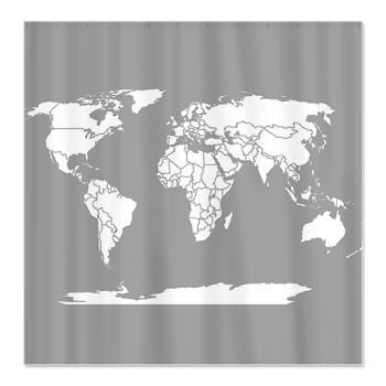 world map shower curtain travel theme minimalist grey and white home decor bathroom maps unique modern