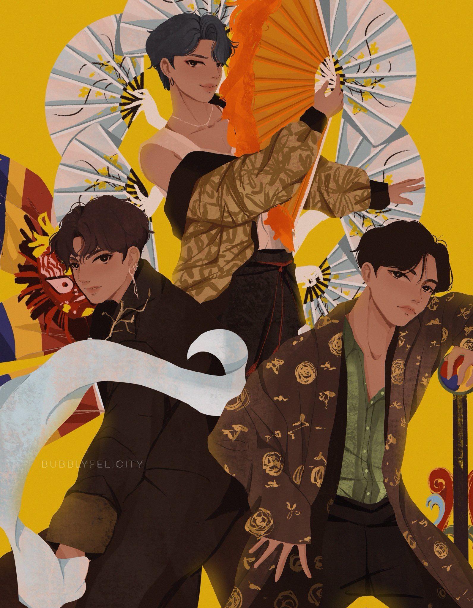 3j Bts Idol Mma Melon Music Awards 2018 Jimin Jungkook J Hope Fan Art Bts Drawings Bts Fanart