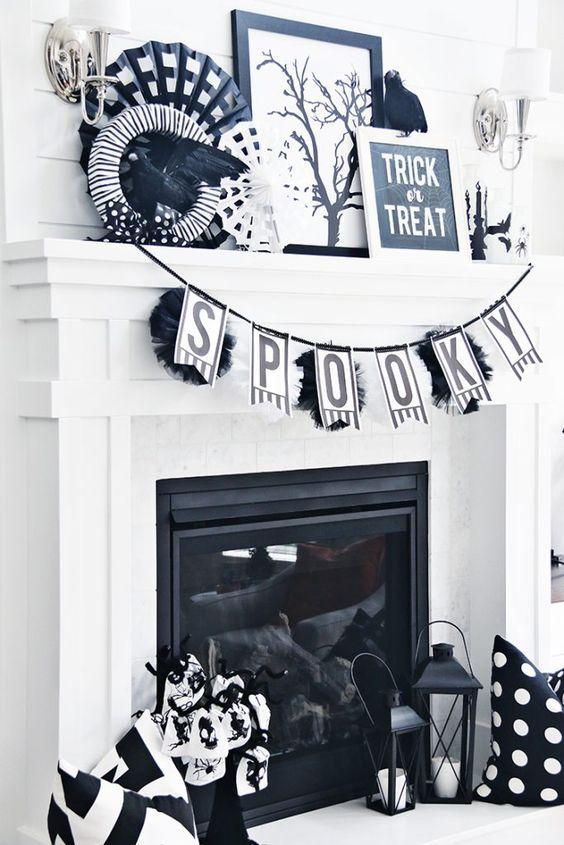 19 Spooky Black and White Halloween Decor Ideas Halloween