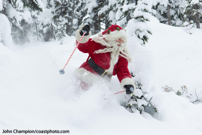 Santa Enjoys The Fresh Powder Snow At Whistler Blackcomb