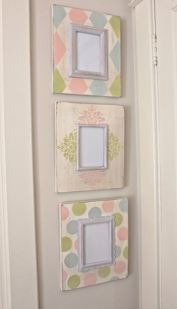 Floral, Harlequin, Polka Dot Distressed Wood Hand Painted Picture ...