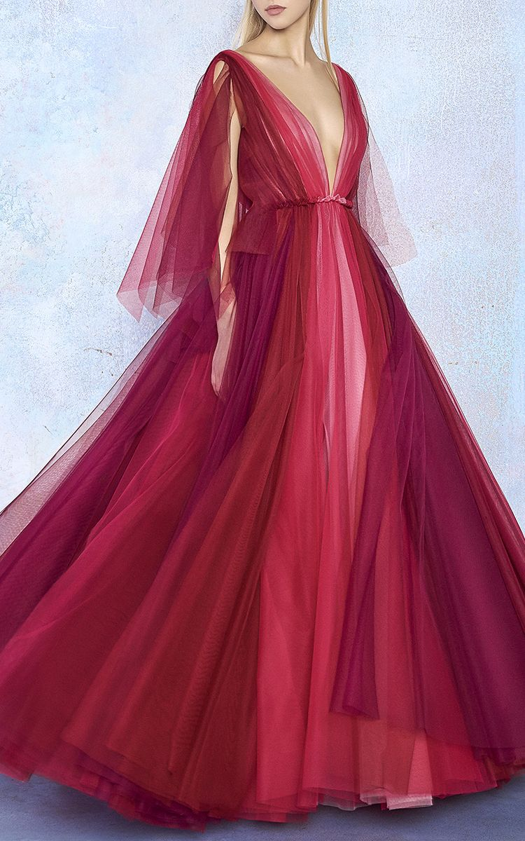 Tulle bicolor v neck gown by luisa beccaria for preorder on moda