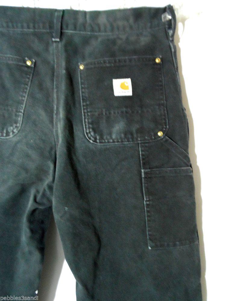 CARHARTT JEANS mens 30x34 B01 Dungaree Black wash Work denim ...