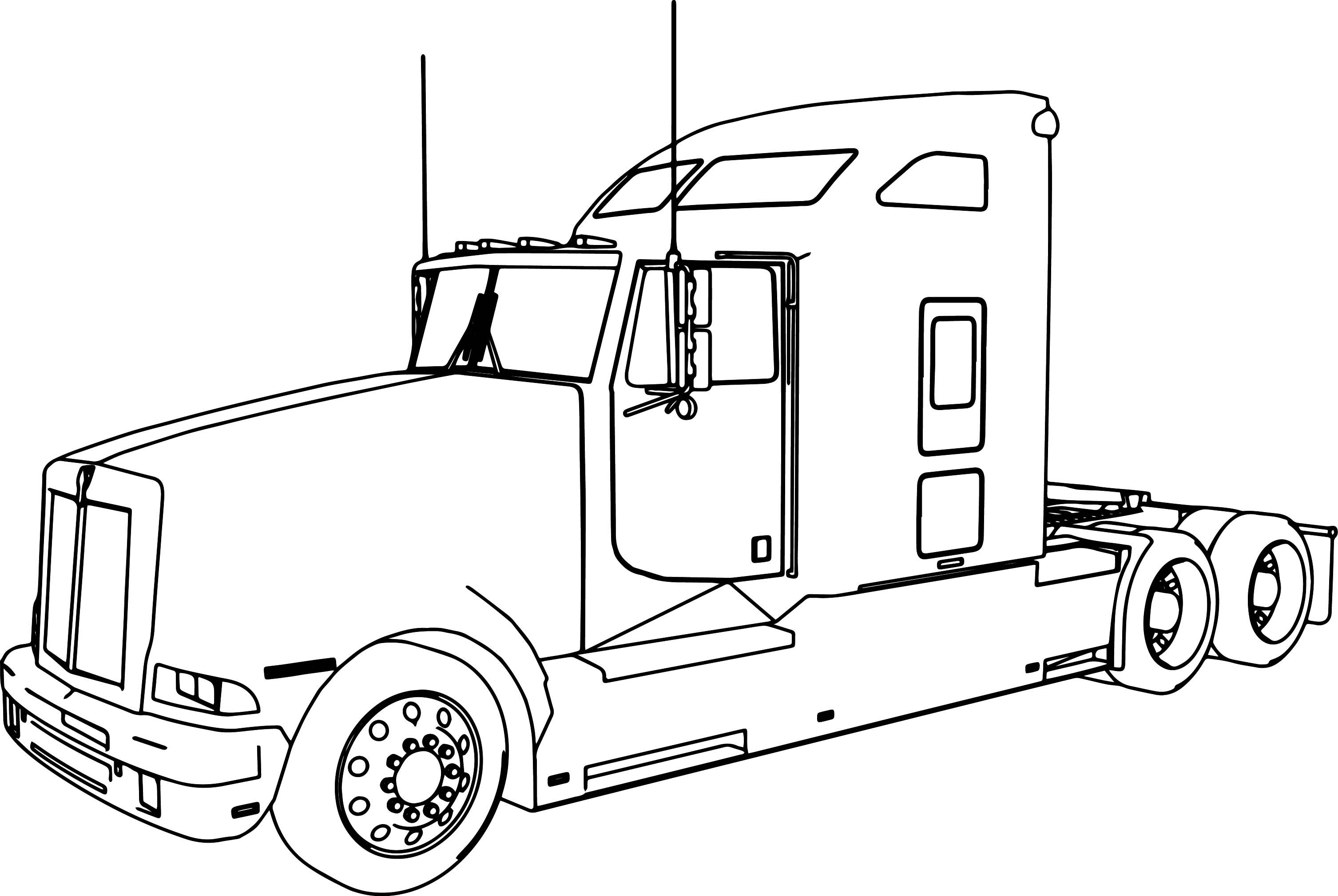 Cool Kenworth T600 Long Trailer Truck Coloring Page