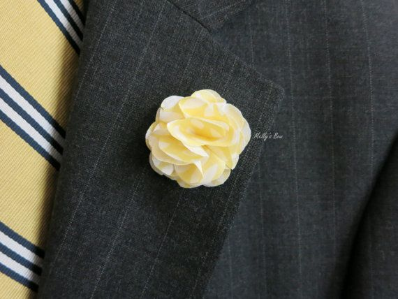 """Yellow Floral Lapel Flower, available in size 1.5"""" and 2"""" with customize backing (button, military clutch, stick pin and bar pin)."""