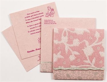D-1809, Pink Color, Handmade Paper, Small Size Cards, Light Weight Cards, Designer Multifaith Invitations, Birthday Invitations