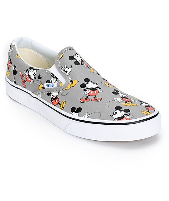 5ea01207fe Enhance your style and comfort with an iconic Mickey Mouse print on a frost  grey upper with two elastic slits on the top for comfortable and easy  removal ...