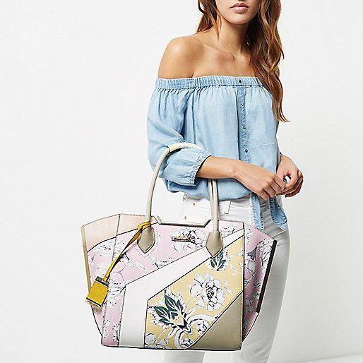 Pink print winged tote handbag - shopper / tote bags - bags / purses - women
