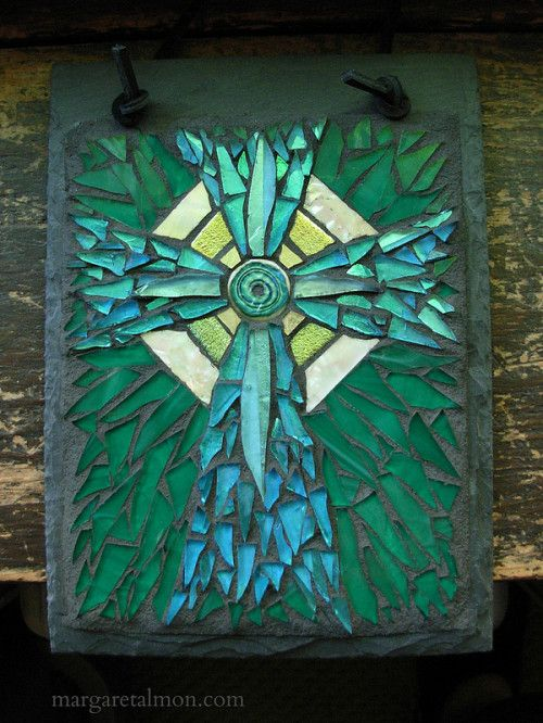 Radial Cross Mosaic in Blue and Green by Margaret Almon