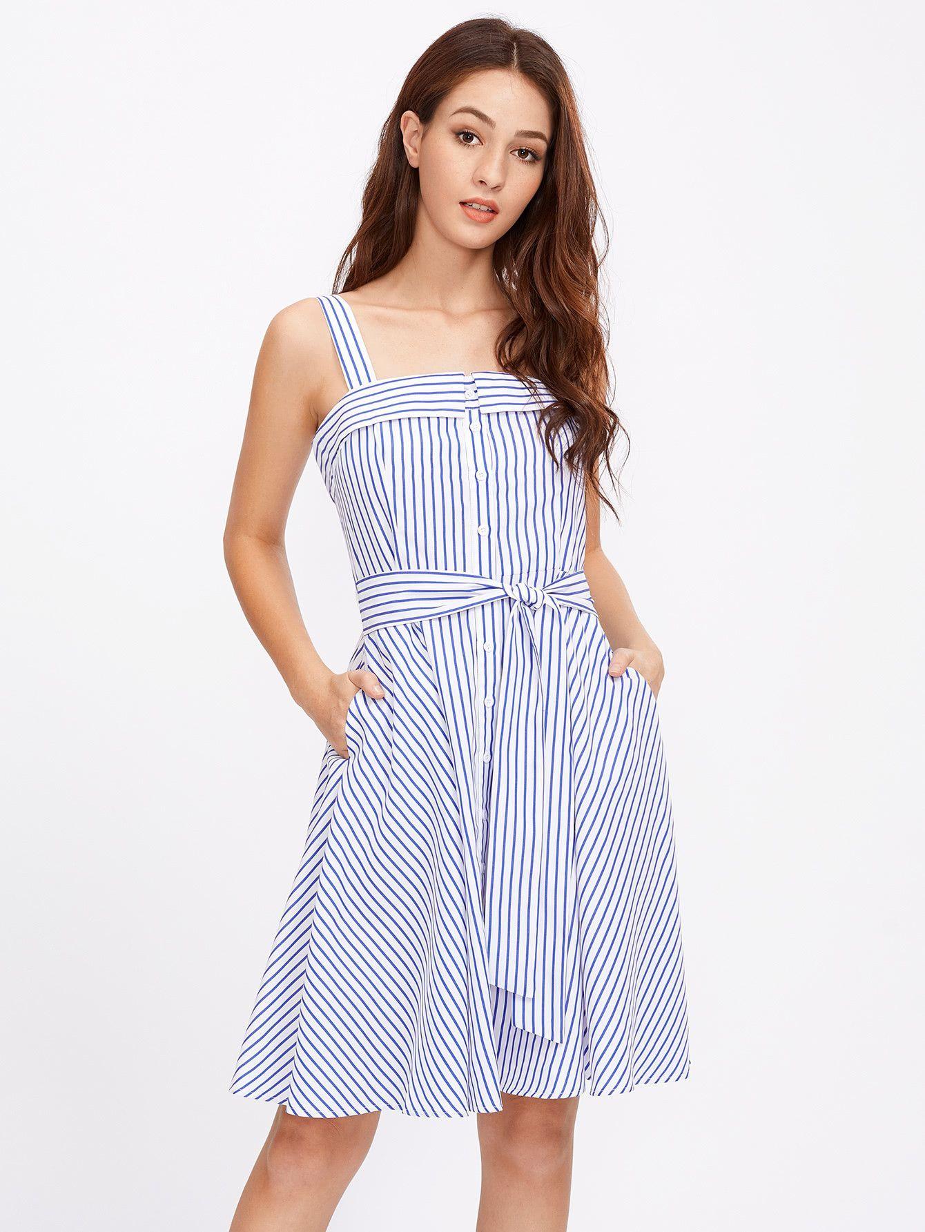 24443c52ece Material  100% Polyester Color  Blue Pattern Type  Striped Neckline   Spaghetti Strap