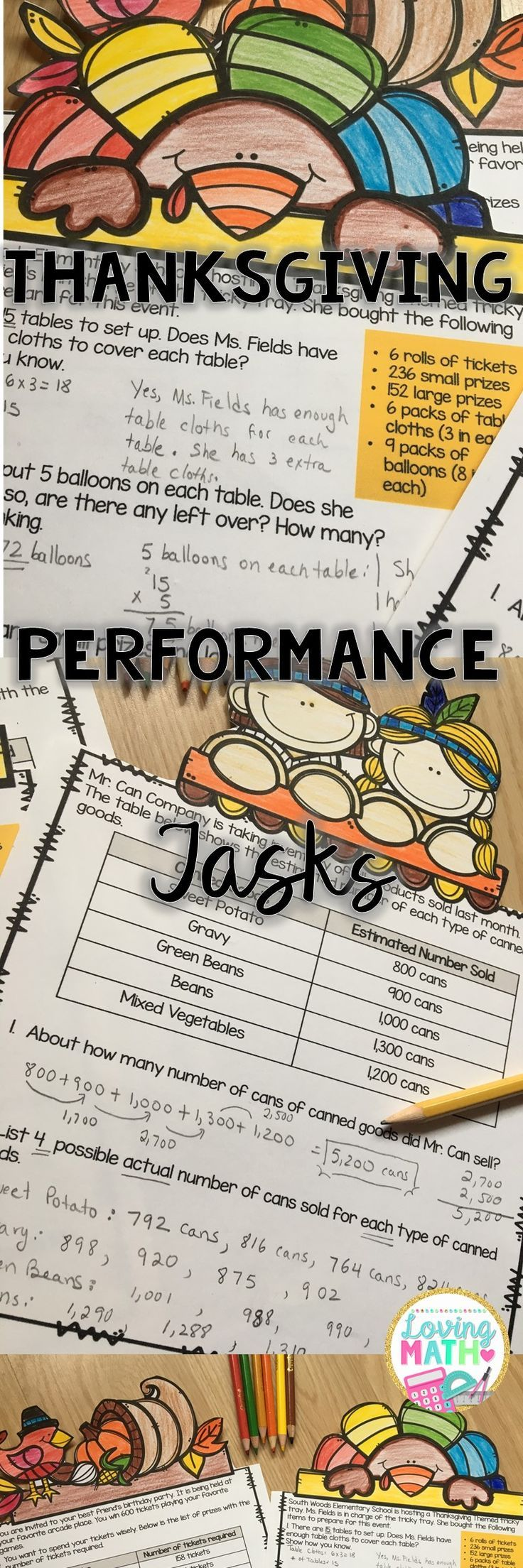 Thanksgiving Math Performance Tasks  Thanksgiving Math