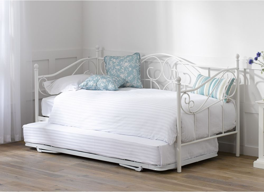 Glossy Vanilla Day Bed Versailles With Under Trundle 2 White Mattresses