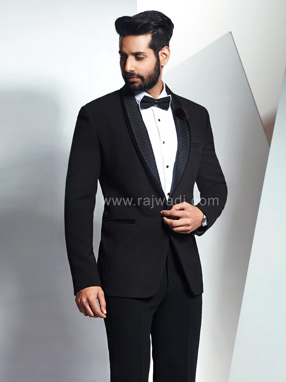 Imported fabric suit in black rajwadi menswear suit designer
