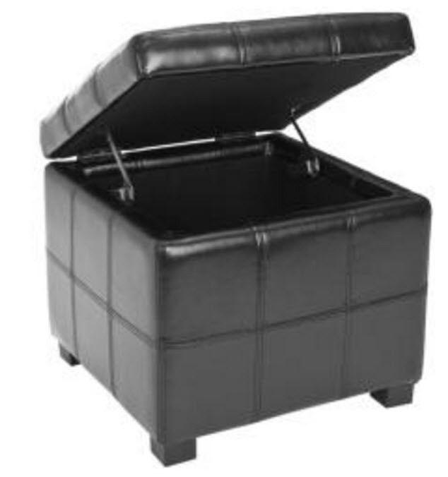 Pleasant Leather Storage Ottoman Black Cube Square Box Hinges Small Ibusinesslaw Wood Chair Design Ideas Ibusinesslaworg