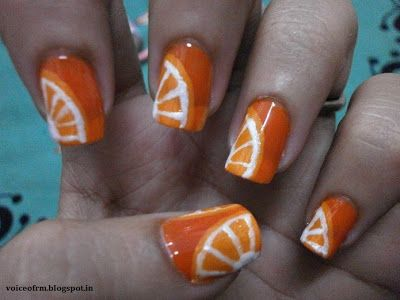 Orange Nail Art with Steps-some sun in the summertime!! :))