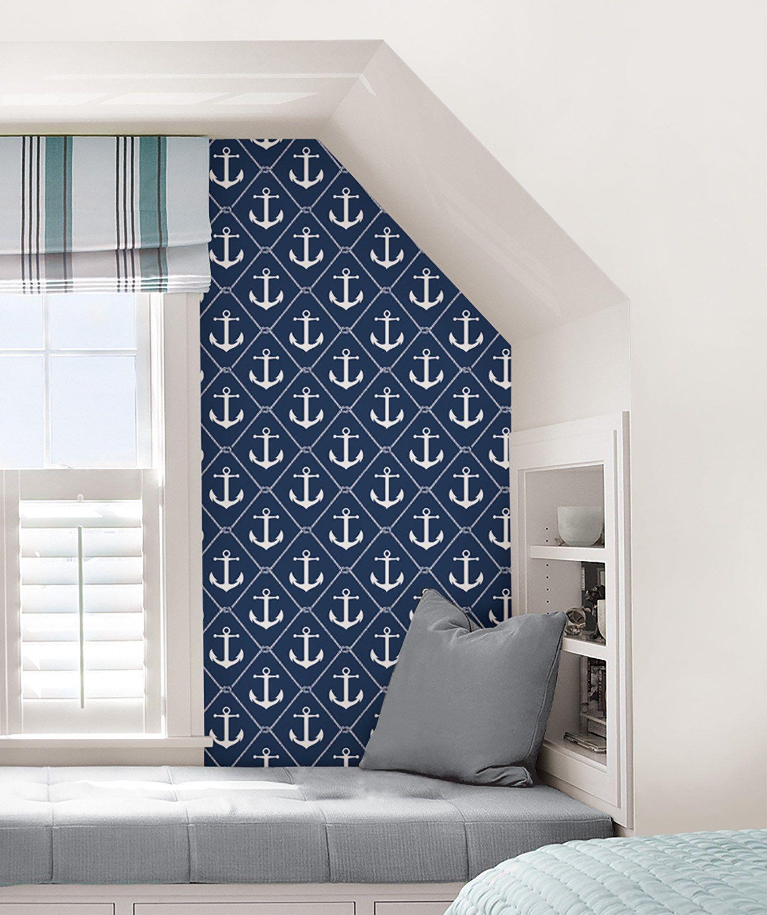 Set Sail Navy Peel and Stick Wallpaper Navy home decor