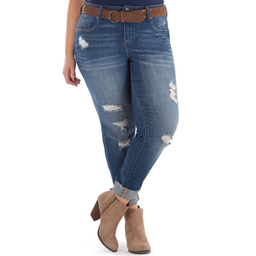 4d246e044bae6 Juniors  Plus Size Amethyst Belted Ripped Girlfriend Skinny Jeans ...