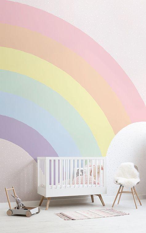 Mural de pared arcoíris pastel para niños