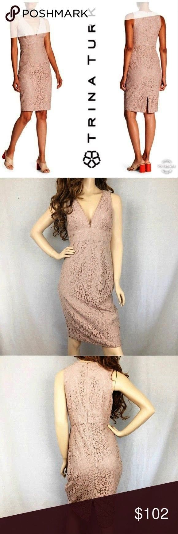 Plunge Neckline Lace Dress NWT A Vneck lacy dress is perfect fr a night out on th Trina Turk Appeal Plunge Neckline Lace Dress NWT A Vneck lacy dress is perfect fr a nigh...