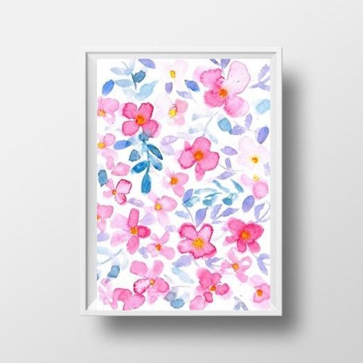Abstract Flowers watercolor painting peach pink by Sweepinggirl