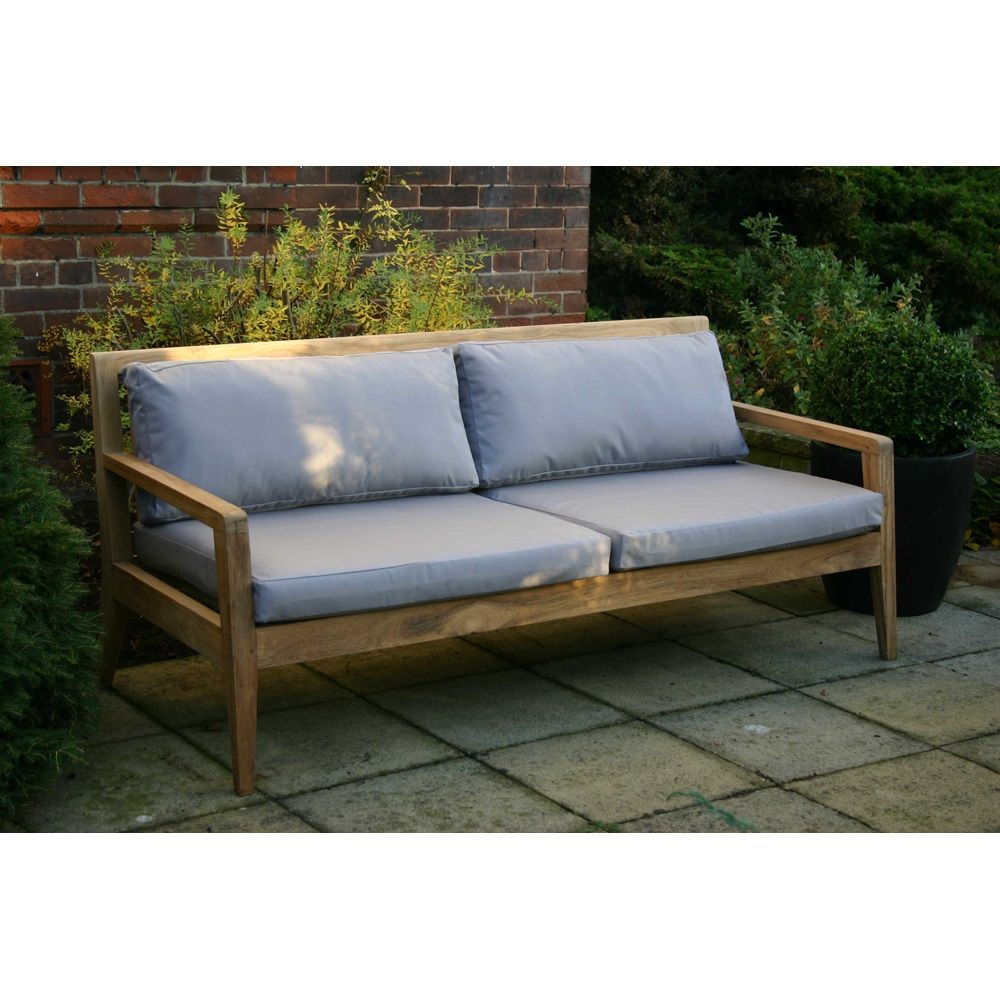 MENTON LUXURY TEAK SOFA BENCH with Grey Cushions | Outdoor living ...